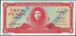 """CUBA - 3 Pesos 1988 {SPECIMEN} {MUESTRA} {""""Che"""" Guevara} UNC P.107 S - Cuba"""