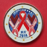 FRANCE 2014 - SIDA  - 2 EUROS COMMEMORATIVE RARE COULEUR AVEC LE TOUR BLANC  - FARBE - COLORED - COLOR - France