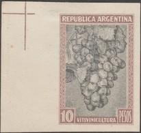 Argentine 1935  Y&T 383. Essai Sur Papier Non Gommé. Timbre D'usage Courant à 10 Pesos : Vitiviniculture. Raisins Et Vin - Vinos Y Alcoholes