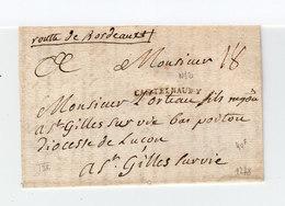 Sur Lettre De 1778 Marque Postale Linéaire Castelnaudary. Taxe Manuscrite. Destination St Gilles Sur Vie. (2176x) - Postmark Collection (Covers)