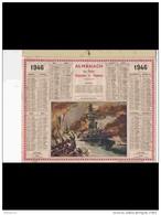 CAL397    ALMANACH    De  1946 ..Signé .GUERRE  CUIRASSE  RICHELIEU  COMBAT.calendrier.baguette,non Cartonné - Calendriers