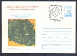 Romania 1983 Postal Stationery Cover Minerals Mineralien Mineraux; Mining Bergbau;Iron Ocna; Geosepa 83 Resita Cancel - Mineralien