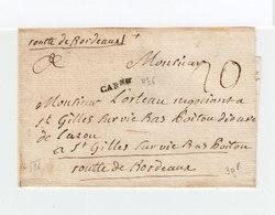 Sur Lettre Marque Postale Linéaire Carne. Taxe Manuscrite. Destination: St Gilles Sur Vie Bas Poitou. (2179x) - Postmark Collection (Covers)