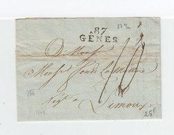 Sur Lettre Marque Postale Linéaire 87 Gênes. Taxe Manuscrite. Destination: Limoux. (2180x) - 1792-1815: Dipartimenti Conquistati