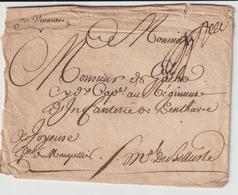 """Env Contreseing """"Maréchal De Belle Isle-> Régiment Penthièvre Infanterie à Joyeuse 1755 (voir 2 Lots Précédents) - Marcophilie (Lettres)"""