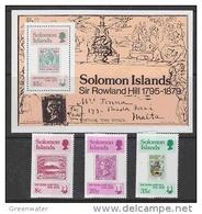 Solomon Islands 1979 Sir Rowland Hill 3v + M/s  ** Mnh (42548) - Solomoneilanden (1978-...)