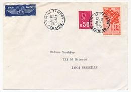 LA REUNION - Enveloppe Affr. 15f Donneurs De Sang + 0,50 Marianne Bequet Type Métropolitain - Le Tampon 31.1.1975 - Lettres & Documents