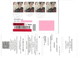 3049e: Egon Schiele- Mehrfachfrankatur Der Blockmarke, Portogerecht Reko/ Abs.info, Kleines PA 2472 Prellenkirchen - 1945-.... 2ème République