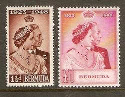 BERMUDA 1948 SILVER WEDDING SET MOUNTED MINT Cat £45+ - Bermudes