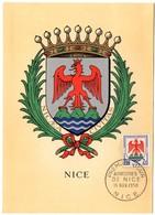 HERALDIQUE = 06 NICE 1958 = CARTE MAXIMUM + CACHET PREMIER JOUR N° 1184 - 1950-59