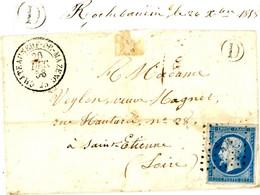 DROME LAC 1858 CHATEAUNEUF DE MAZENC PC T15 + BOITE RURALE D = ROCHEBAUDIN - Storia Postale