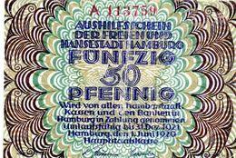 Billet De Nécessité Allemand Hambourg De 50 Pfennig Le 31-12-1921 - [ 3] 1918-1933 : República De Weimar