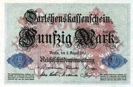Billet Allemand De 50 Mark Du 5-8-1914- 7 Chiffres Rouge M - N°4253007 En T B - - [ 2] 1871-1918 : Duitse Rijk