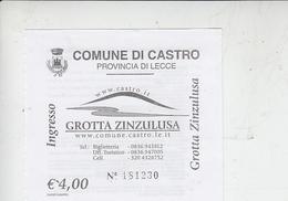 """COMUNE DI CASTRO (Lecce) - Ingresso """"Grotta Zinzolusa"""" - Biglietti D'ingresso"""