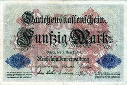 Billet Allemand De 50 Mark Du 5-8-1914- 7 Chiffres Rouge E - N°3152774 En T B - - [ 2] 1871-1918 : Duitse Rijk