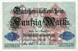 Billet Allemand De 50 Mark Du 5-8-1914- 7 Chiffres Rouge M - N°3514900 En T B - - [ 2] 1871-1918 : Duitse Rijk