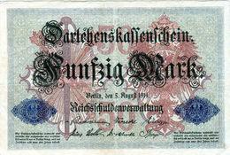 Billet Allemand De 50 Mark Du 5-8-1914- 7 Chiffres Rouge H - N°3013570 En T B - - [ 2] 1871-1918 : Duitse Rijk