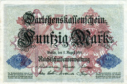 Billet Allemand De 50 Mark Du 5-8-1914- 7 Chiffres Rouge P - N°3788692 En T B - - [ 2] 1871-1918 : Duitse Rijk