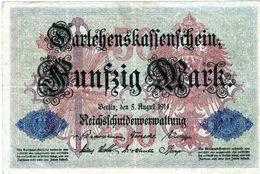 Billet Allemand De 50 Mark Du 5-8-1914- 7 Chiffres Rouge X - N°3299618 En T B - - [ 2] 1871-1918 : Duitse Rijk