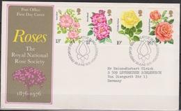 Grossbritannien 1976 MiNr.711 - 714 FDC Königliche Nationale Rosengesellschaft ( D 618 )günstige Versandkosten - FDC