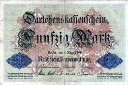 Billet Allemand De 50 Mark Du 5-8-1914- 6 Chiffres Rouge D-N° 443513 En T B - - [ 2] 1871-1918 : Duitse Rijk