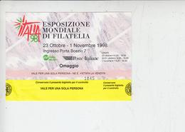 ESPOSIZIONE MONDIALE DI FILATELIA - 1998 - Biglietti D'ingresso