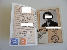 Con Foto  Anni  80    LECCE    CARTA D' IDENTITA   CON FOTO CEDULA DE IDENTIDAD Card Identity LOTTO LECCE 1 - Documenti Storici