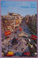 LONDON UK - PICCADILLY CIRCUS & COVENTRY STREET - Lemon Hart, BR Petrol, Gordons Gin, Wrigley, Max Factor, Bus Cars, Vg - Piccadilly Circus