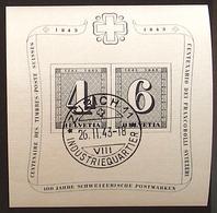 Schweiz Suisse 1943: 100 Jahre Zürich-Marken Centenaire  Zu WIII14 Mi Block 8 Yv BF 9 O ZÜRICH 26.II.43  (Zu CHF 80.00) - Blocs & Feuillets