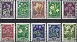 Austria 1948 - Mi 868/75 - YT 722/31 ( Flowers ) MH* - Complète Issue - 1945-.... 2ème République