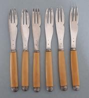 6 Fourchettes à Gâteaux En Argent Massif, Minèrve 1er Titre - Maître Orfèvre Charles Victor GIBERT - Argenterie