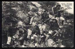 CP 7- CPA ANCIENNE- MILITARIA-GROUPE DE CHASSEURS ALPINS DANS LES ALPES- AVEC ARMES- TRES GROS PLAN - Militaria