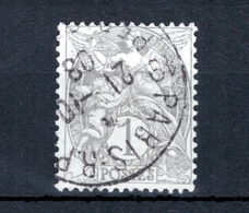 FRANCE 1900 N°107IB OBL. (BLANC. 1C GRIS. TYPE IB) - 1900-29 Blanc