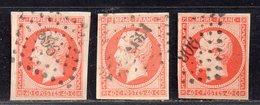 Napoléon N° 16 X3 (3 Teintes Différentes) Avec Oblitération Losange  TTB - 1853-1860 Napoleon III