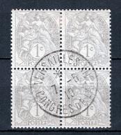 FRANCE 1900 N°107IA BLOC DE 4 OBL. (BLANC. 1C GRIS. TYPE IA) - 1900-29 Blanc