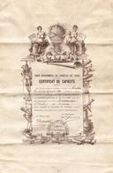 Certificat De Capacité, Comité Des Géomètres Des Landes, Velin De 1890, Géomètre Charles Maisonnave (de Lesperon) - Diploma & School Reports