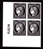 Cérès Bloc De 4 X 0.20 € Coin Daté 11.02.19 Non Dentelé, 170 Ans Du Premier Timbre De France 1849/2019 - Neufs