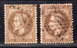 Napoléon III Lauré  N° 30h (Fond Ligné) X2  Avec Oblitération D'Epoque  TB - 1863-1870 Napoléon III Lauré