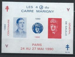 Bloc De Gaulle Les 4 J Du Carré Marigny Paris 1990 Non Dentellé Dominante Bleue XX Fac Similé 1990 - Liberation