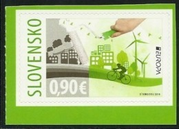 "ESLOVAQUIA /SLOVAKIA / SLOWAKIEN- EUROPA 2016 - TEMA  ""ECOLOGIA -EL PENSAMIENTO VERDE -THINK GREEN"".-SERIE De 1 V.CARNET - Europa-CEPT"