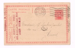 Entier Postal à 10 Centimes.Expédié De Bruxelles à Anvers. - AK [1909-34]