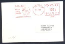 Finland 1982 Cover: Minerals Mineralien Mineraux; Mining Bergbau; Kupfer Copper Meter EMA Freistempel - Mineralien
