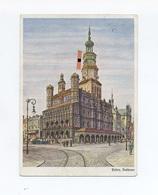 1943 3. Reich Farbige Propagandakarte Rathaus Posen Poznan Mit Hakenkreuzbeflaggung, Echt Gelaufen - Deutschland