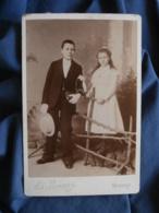 Photo Cabinet Lamaury à Gisors - Jeune Communiant Et Fillette, Vers 1890 L431 - Photos