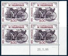 MON 1995  Première Automobile à Pneumatiques  N° YT 1999 ** MNH Bloc De 4 Coin Daté - Monaco