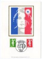 Carte Maximum 1991 - Marianne Du Bicentenaire (Briat) :  D Vert Et Rouge YT  2711 Et YT 2712 - Paris - Maximum Cards