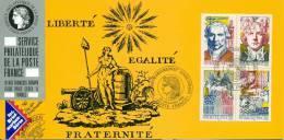 070 Carte Officielle Exposition Internationale Exhibition Sindelfingen 1990 France FDC Bloc French Revolution Française - Esposizioni Filateliche