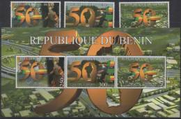 Bénin 2010 Cinquantenaire De L'Independance Unabhängigkeit 3 Timbres + 1 Bloc Block MNH** - Bénin – Dahomey (1960-...)
