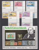 Turks & Caicos Islands 1979 Sir Rowland Hill 5v Gutter + M/s ** Mnh (42563) - Turks- En Caicoseilanden