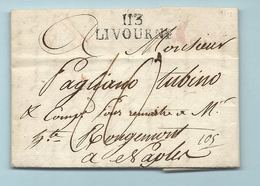 """Département Conquis De La Méditerranée - Livourne Pour Naples. LAC De 1812. Cachet D'arrivée Au Verso """"MARS"""" - Marcophilie (Lettres)"""